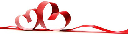 25222530 - ribbons shaped as hearts on white, valentines day concept