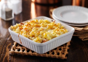 40507095 - casserole dish with baked macaroni and cheese