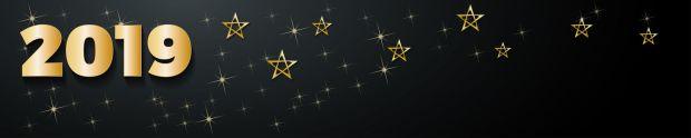 2019 Happy New Year header background, golden stars